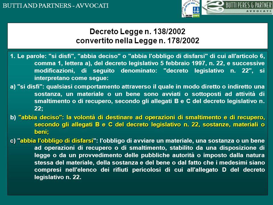 Decreto Legge n. 138/2002 convertito nella Legge n. 178/2002