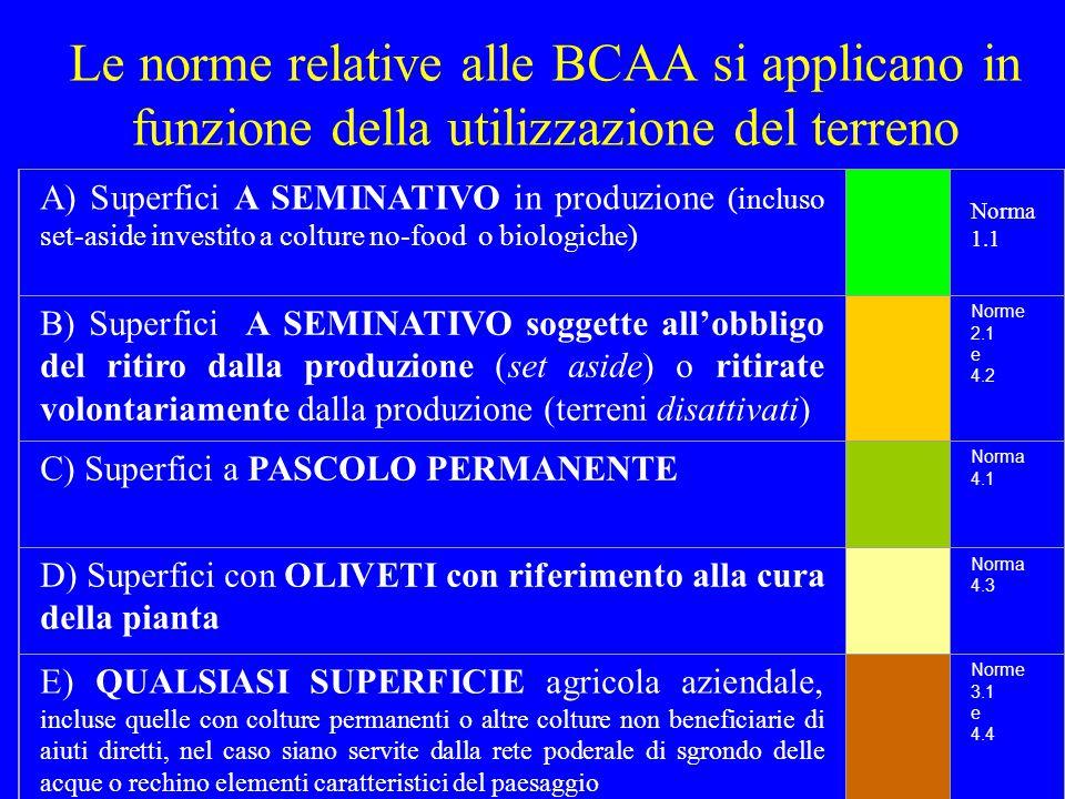 Le norme del campo di condizionalità relative al mantenimento dei terreni in Buone Condizioni Agronomiche e Ambientali (BCAA) sono invece differenziate per TIPOLOGIA di UTILIZZAZIONE delle singole particelle aziendali: