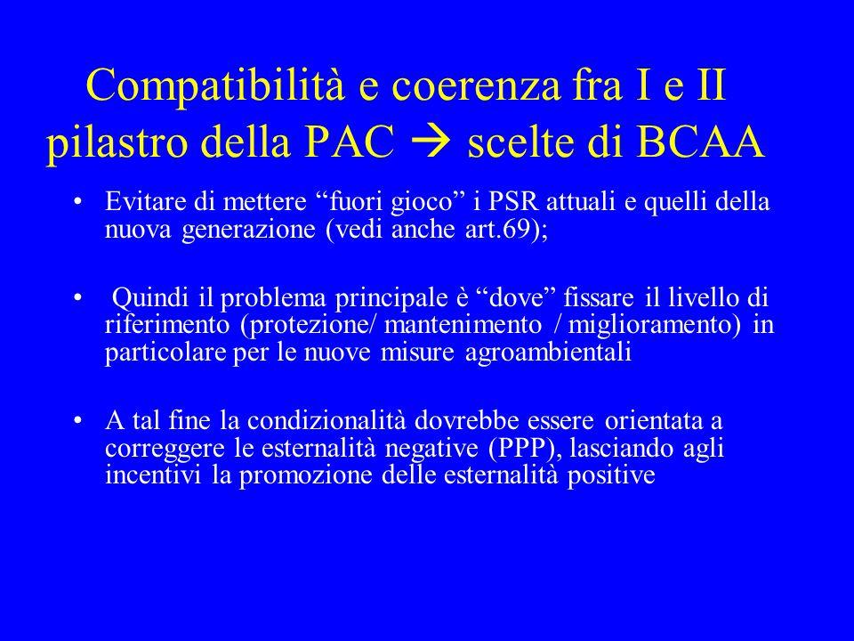 Compatibilità e coerenza fra I e II pilastro della PAC  scelte di BCAA