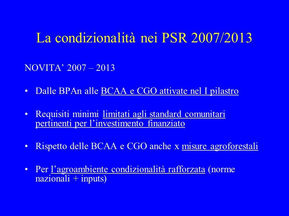 La condizionalità nei PSR 2007/2013