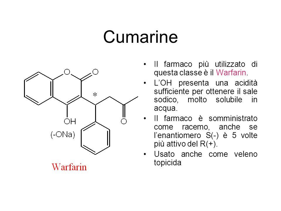 Cumarine Il farmaco più utilizzato di questa classe è il Warfarin.