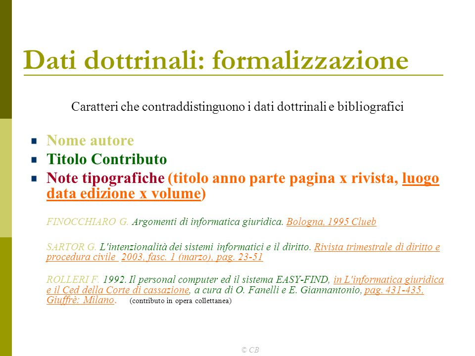 Dati dottrinali: formalizzazione