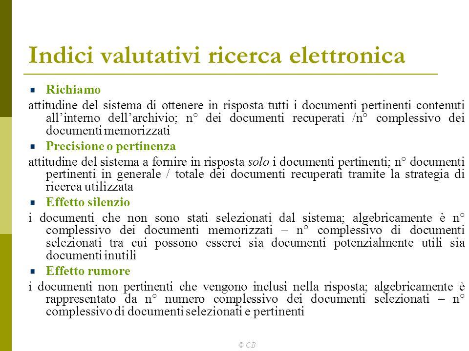 Indici valutativi ricerca elettronica