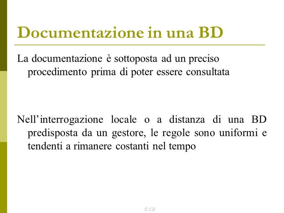 Documentazione in una BD