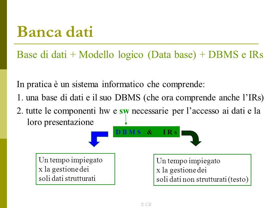 Banca dati Base di dati + Modello logico (Data base) + DBMS e IRs