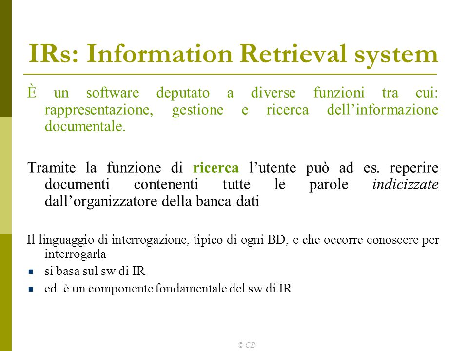 IRs: Information Retrieval system