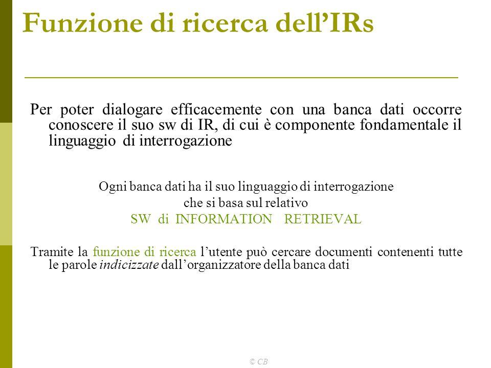 Funzione di ricerca dell'IRs