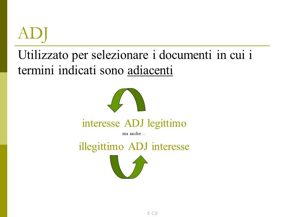 ADJ Utilizzato per selezionare i documenti in cui i termini indicati sono adiacenti. interesse ADJ legittimo.