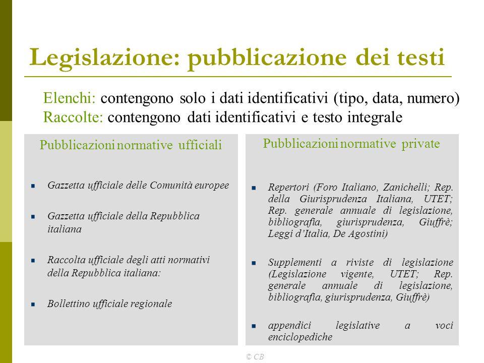 Legislazione: pubblicazione dei testi