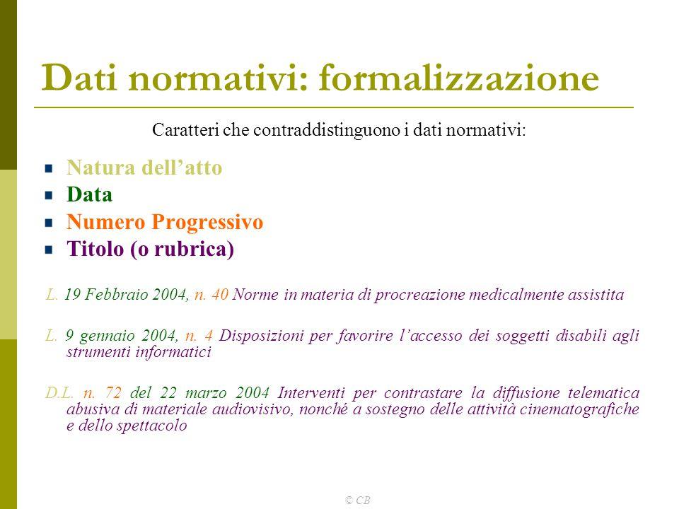 Dati normativi: formalizzazione