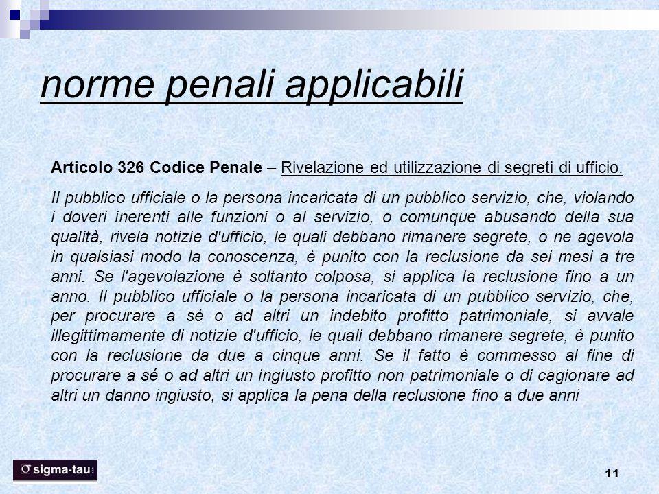 norme penali applicabili
