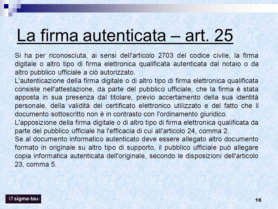La firma autenticata – art. 25