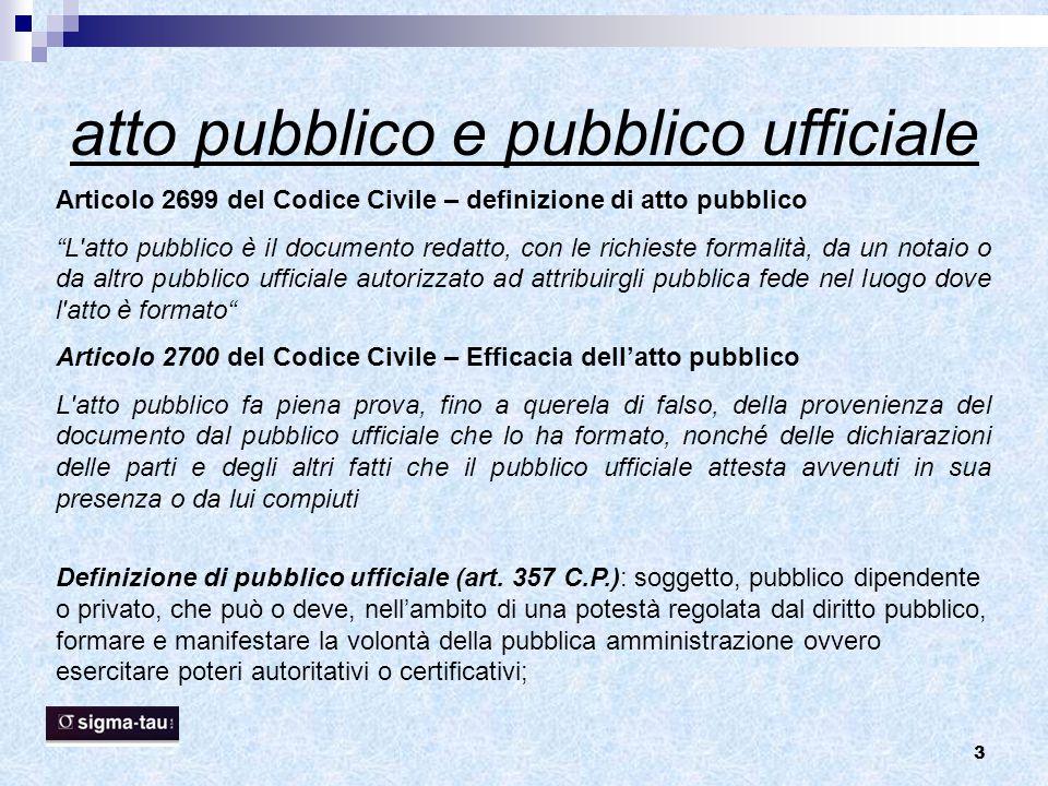 atto pubblico e pubblico ufficiale