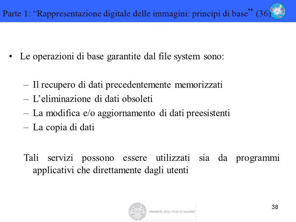 Le operazioni di base garantite dal file system sono: