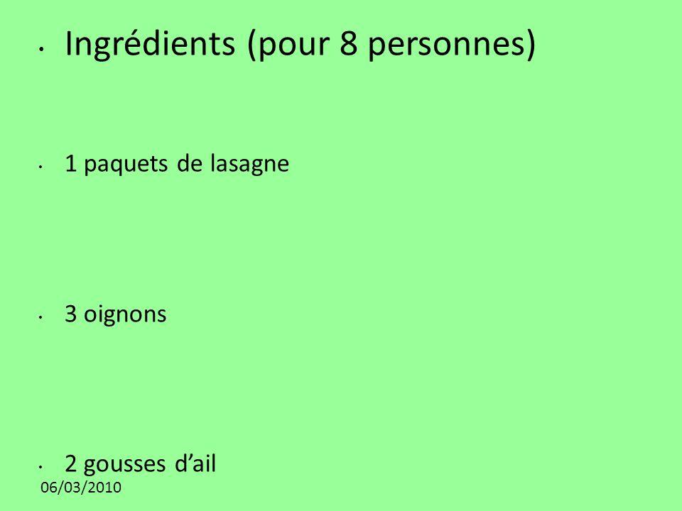 Ingrédients (pour 8 personnes)