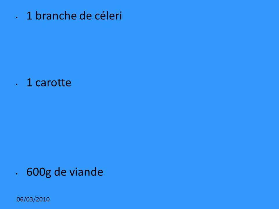 1 branche de céleri 1 carotte 600g de viande 06/03/2010