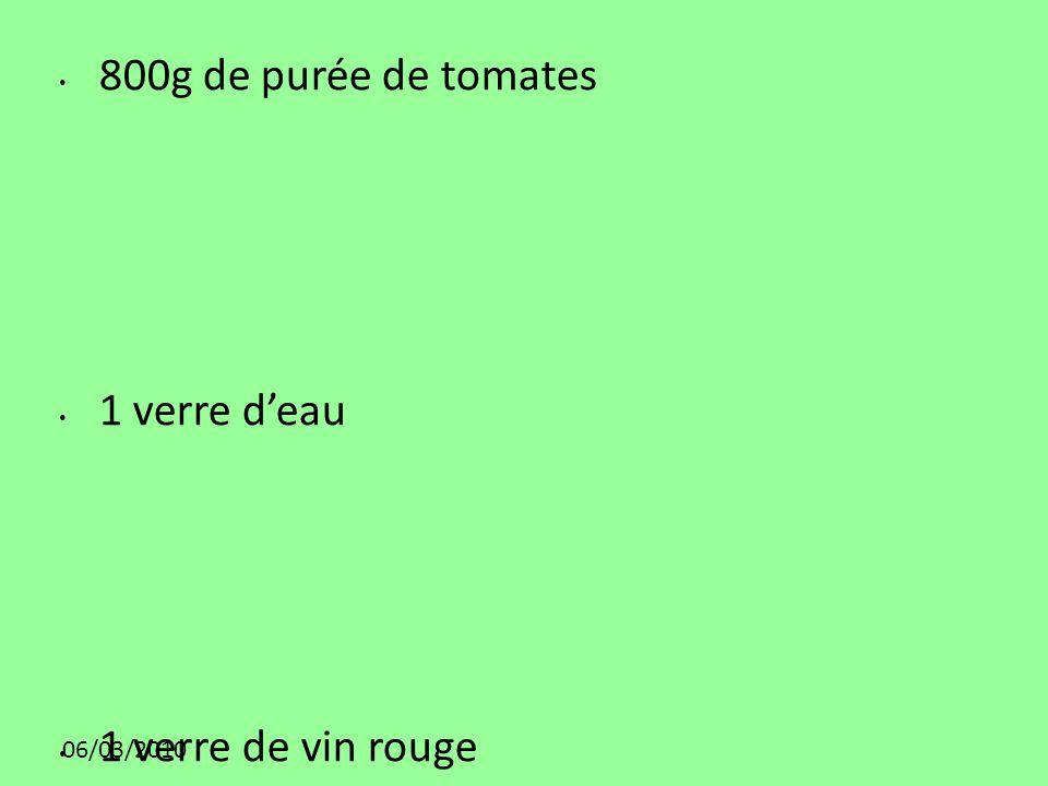800g de purée de tomates 1 verre d'eau 1 verre de vin rouge 06/03/2010