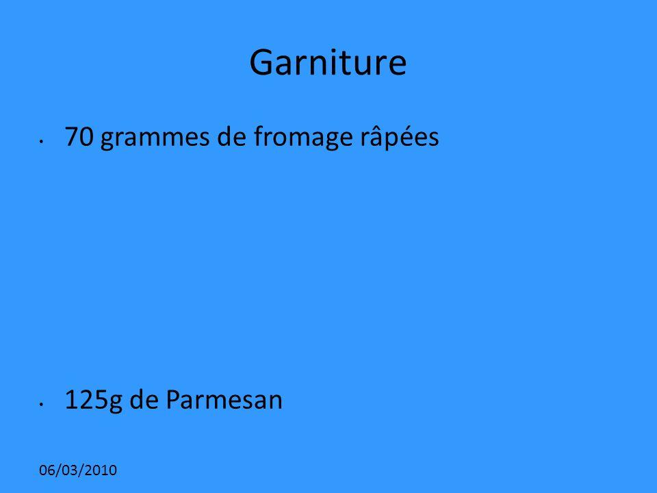 Garniture 70 grammes de fromage râpées 125g de Parmesan 06/03/2010