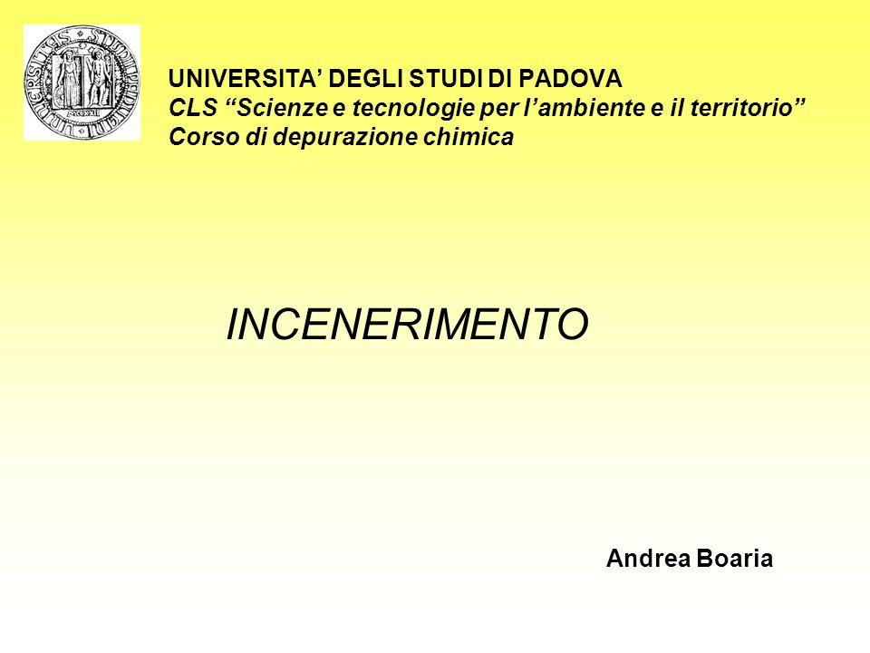 UNIVERSITA' DEGLI STUDI DI PADOVA CLS Scienze e tecnologie per l'ambiente e il territorio Corso di depurazione chimica