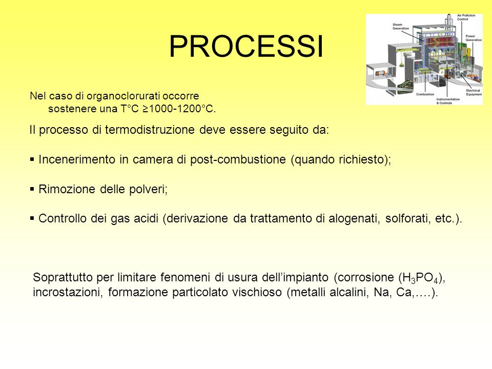 PROCESSI Il processo di termodistruzione deve essere seguito da: