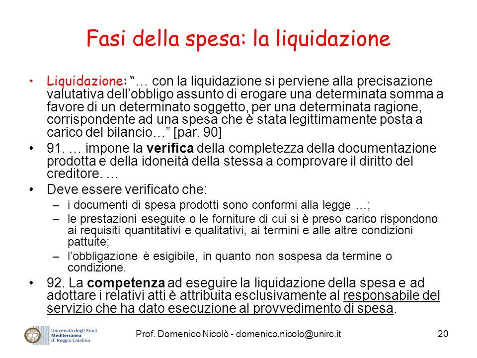 Fasi della spesa: la liquidazione