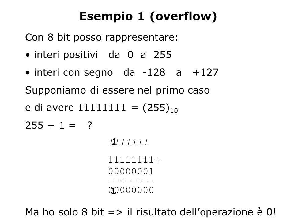 Esempio 1 (overflow) Con 8 bit posso rappresentare: