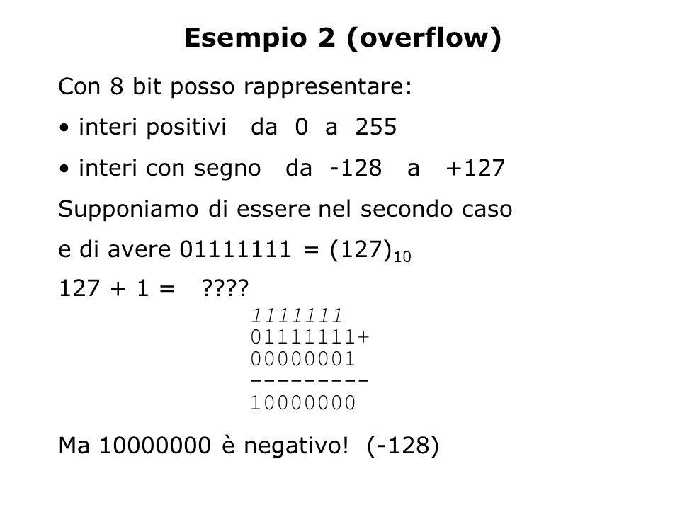 Esempio 2 (overflow) Con 8 bit posso rappresentare: