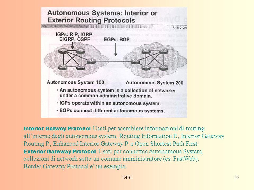 Border Gateway Protocol e' un esempio.