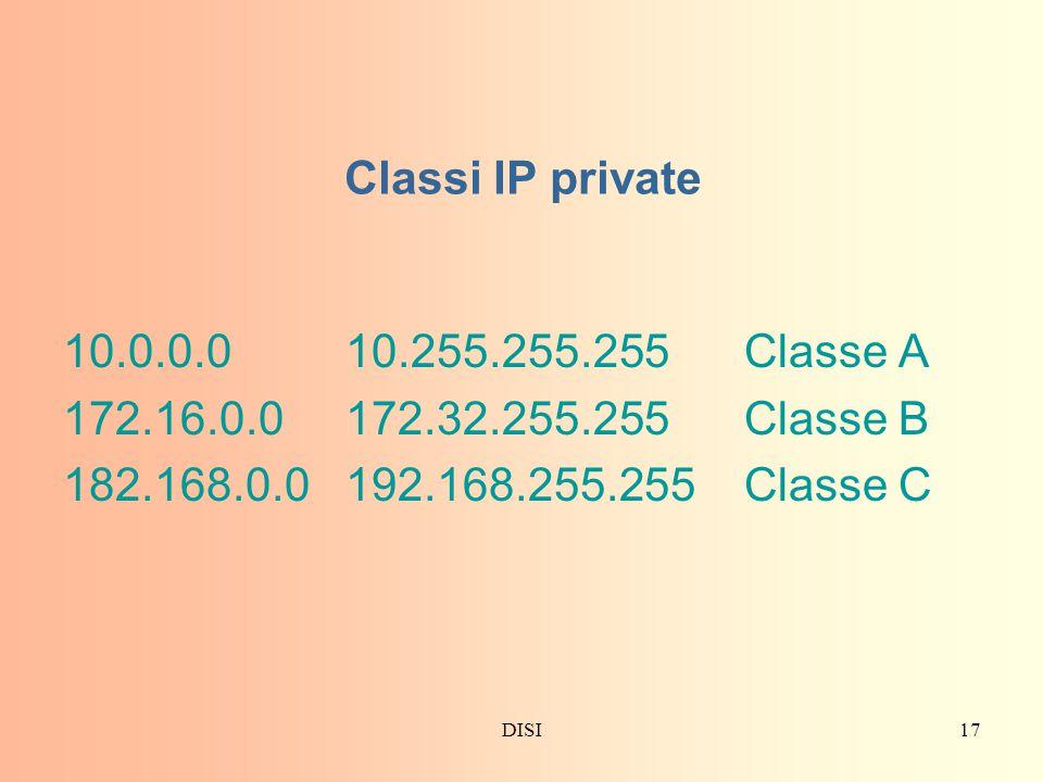 Classi IP private 10.0.0.0 10.255.255.255 Classe A