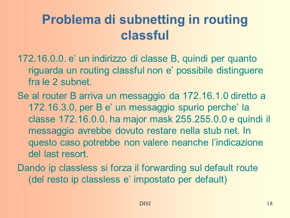 Problema di subnetting in routing classful