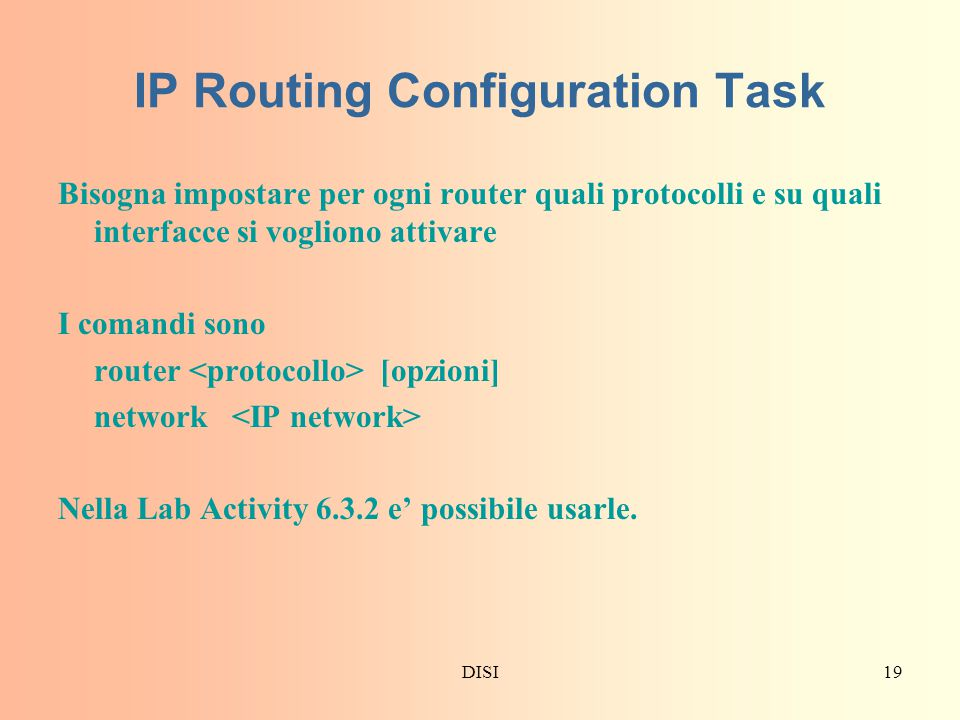 IP Routing Configuration Task