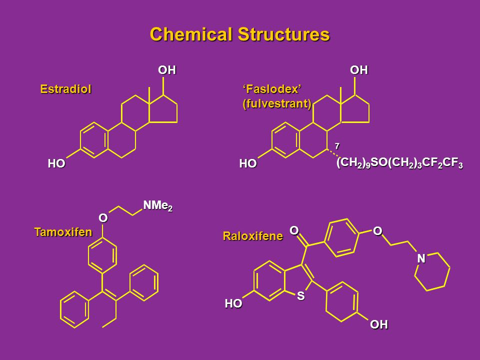 Chemical Structures OH Estradiol HO OH (CH2)9SO(CH2)3CF2CF3 'Faslodex'