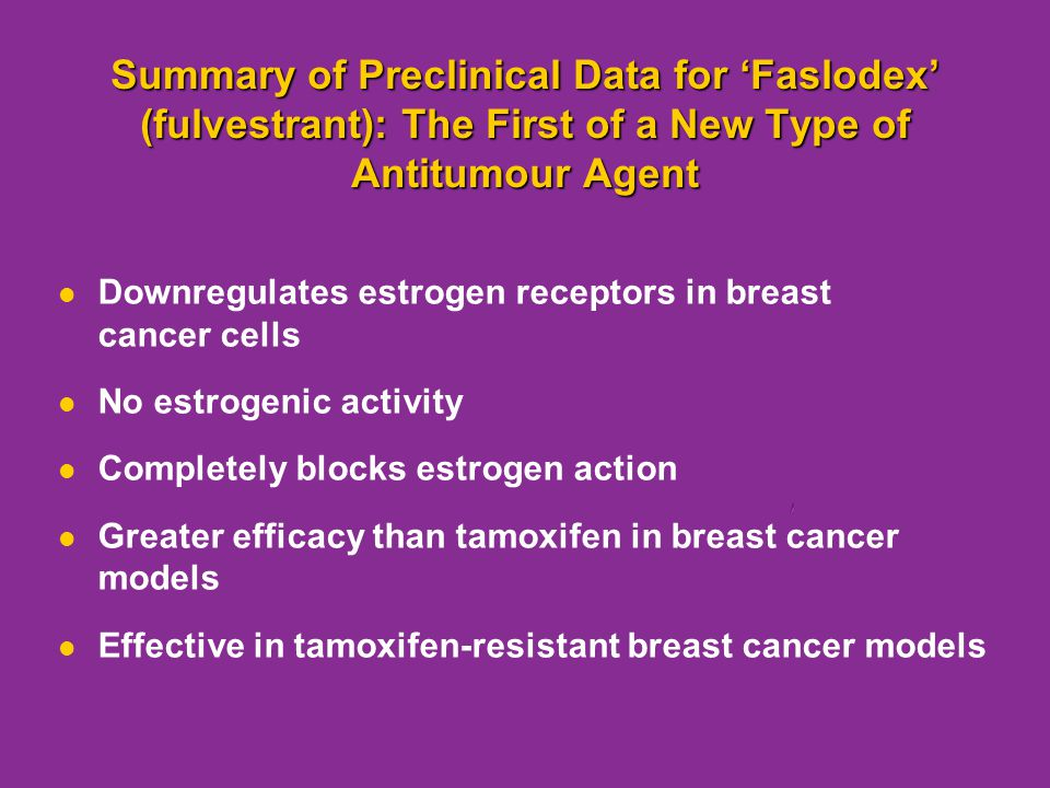 Summary of Preclinical Data for 'Faslodex' (fulvestrant): The First of a New Type of Antitumour Agent