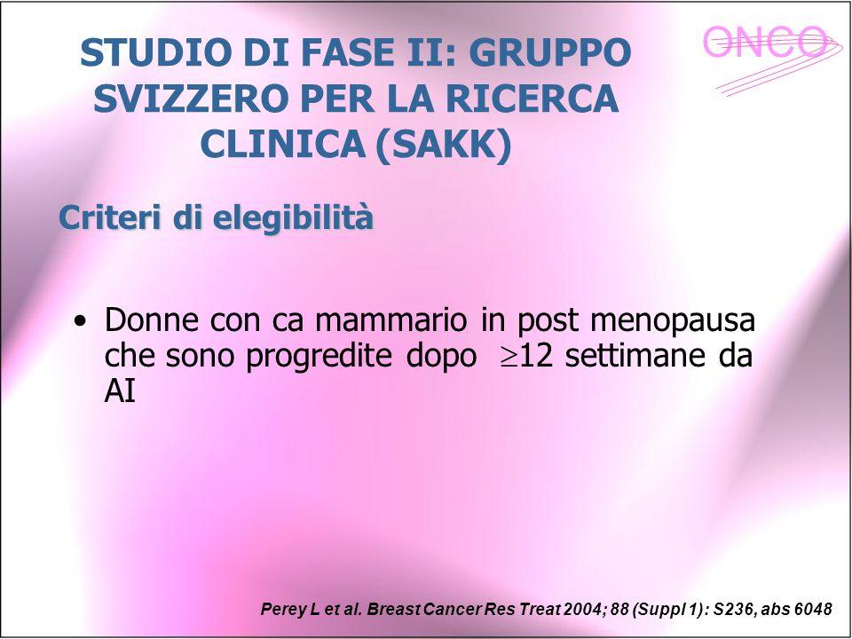 STUDIO DI FASE II: GRUPPO SVIZZERO PER LA RICERCA CLINICA (SAKK)