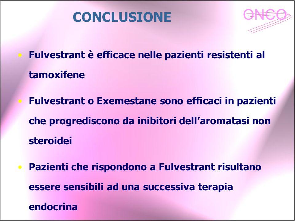 CONCLUSIONE Fulvestrant è efficace nelle pazienti resistenti al tamoxifene.