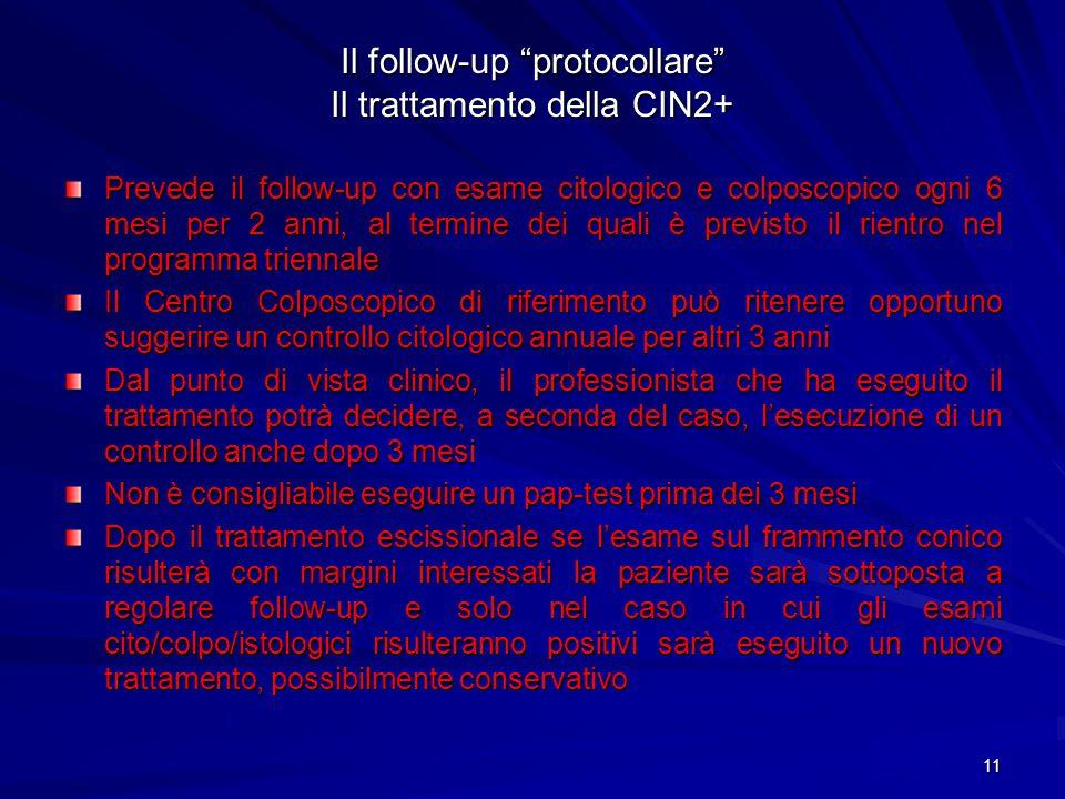 Il follow-up protocollare Il trattamento della CIN2+
