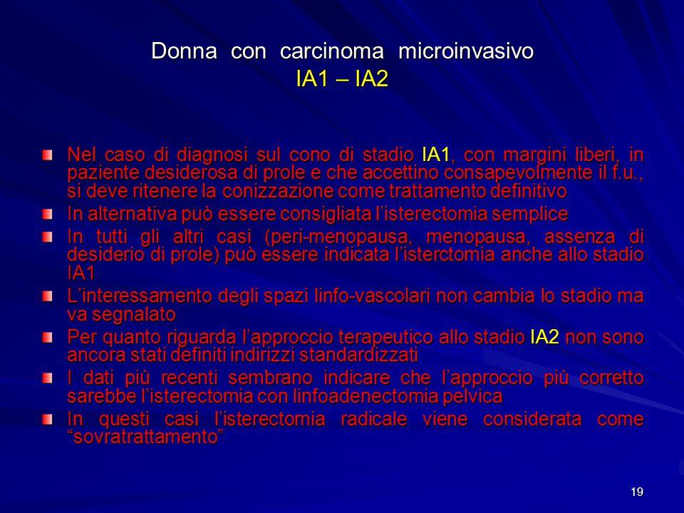 Donna con carcinoma microinvasivo IA1 – IA2