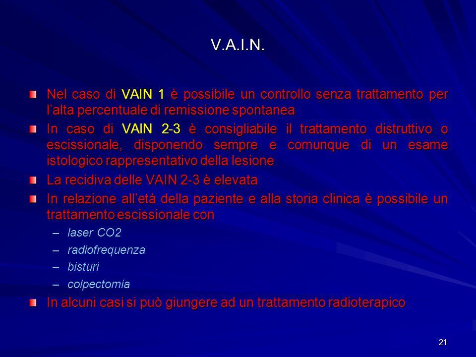 V.A.I.N. Nel caso di VAIN 1 è possibile un controllo senza trattamento per l'alta percentuale di remissione spontanea.
