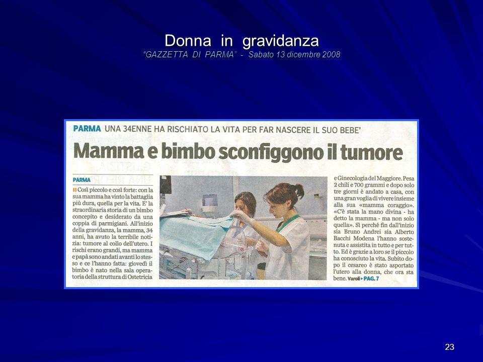 Donna in gravidanza GAZZETTA DI PARMA - Sabato 13 dicembre 2008