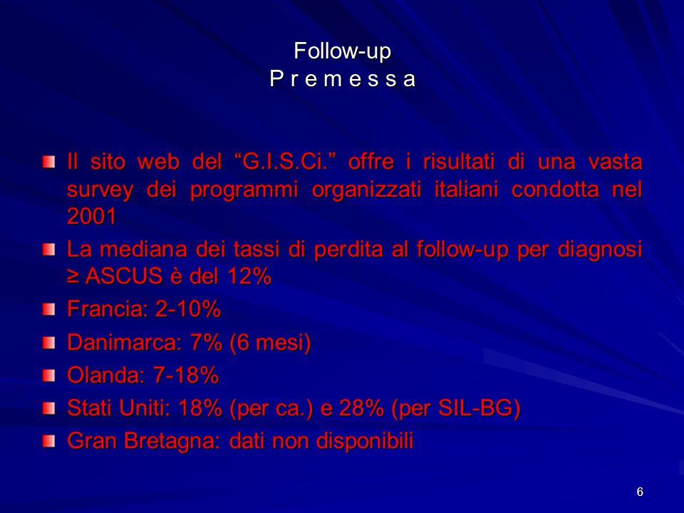 Follow-up P r e m e s s a Il sito web del G.I.S.Ci. offre i risultati di una vasta survey dei programmi organizzati italiani condotta nel 2001.
