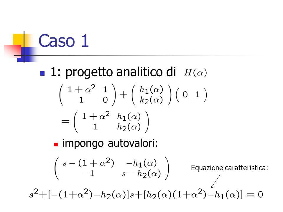 Caso 1 1: progetto analitico di impongo autovalori: