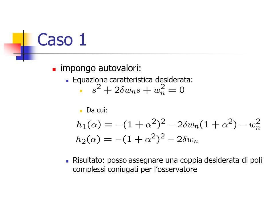 Caso 1 impongo autovalori: Equazione caratteristica desiderata: