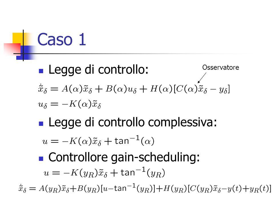 Caso 1 Legge di controllo: Legge di controllo complessiva: