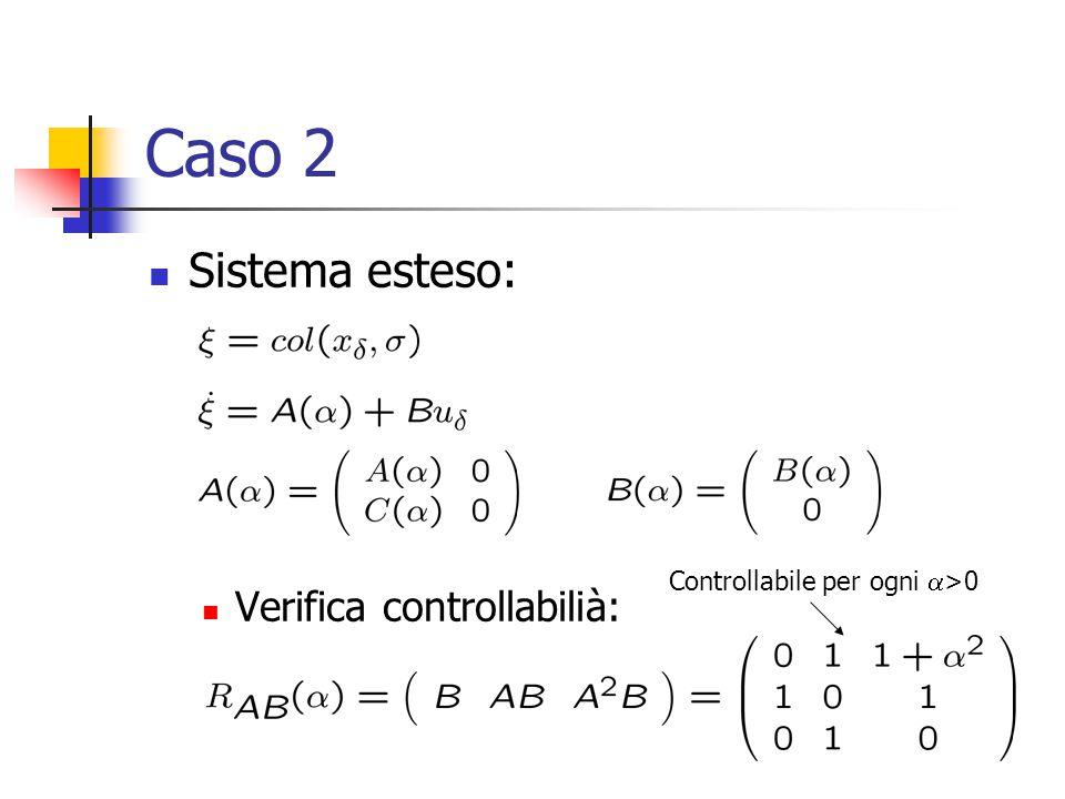 Caso 2 Sistema esteso: Verifica controllabilià: