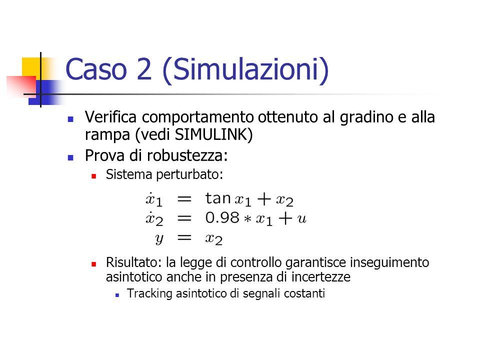 Caso 2 (Simulazioni) Verifica comportamento ottenuto al gradino e alla rampa (vedi SIMULINK) Prova di robustezza: