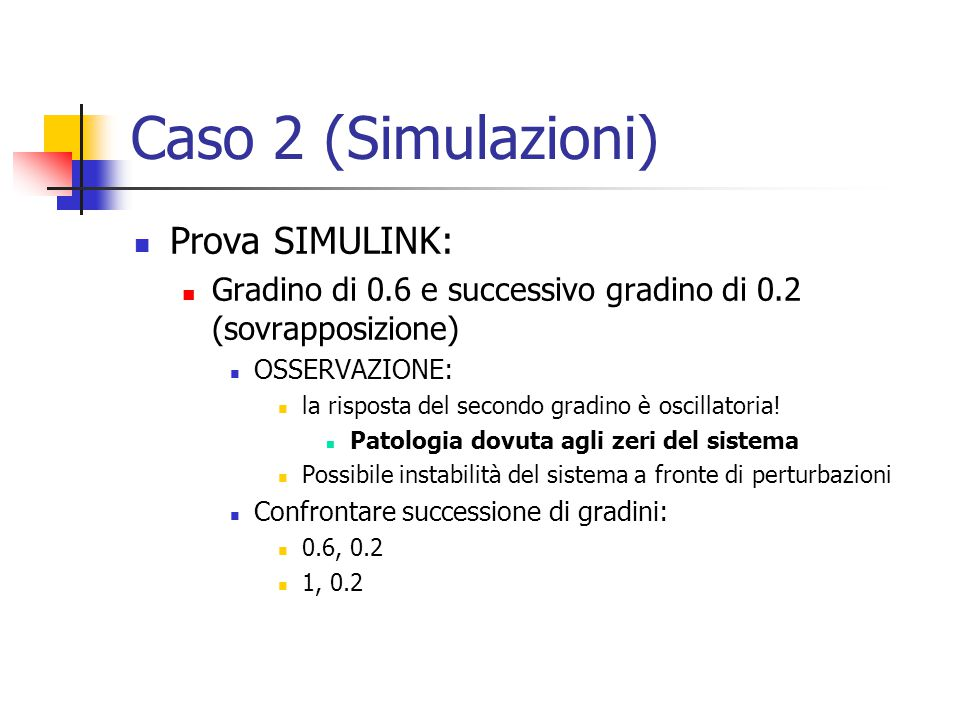 Caso 2 (Simulazioni) Prova SIMULINK: