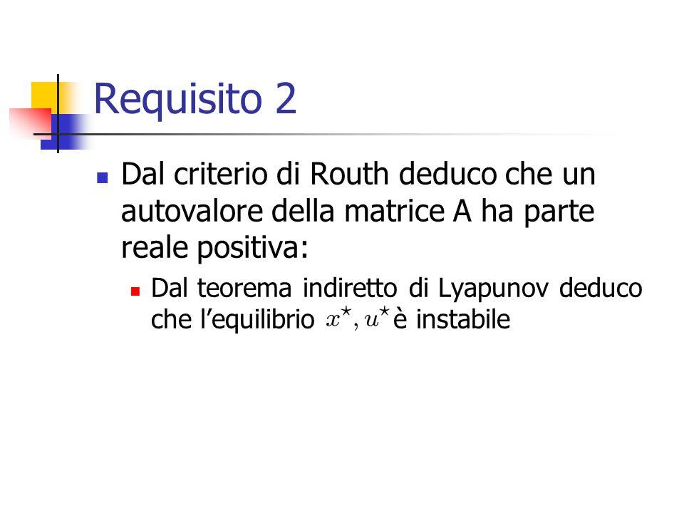 Requisito 2 Dal criterio di Routh deduco che un autovalore della matrice A ha parte reale positiva: