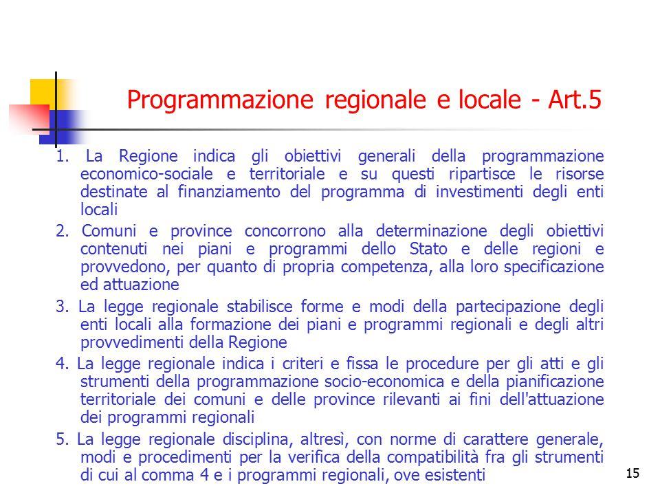 Programmazione regionale e locale - Art.5