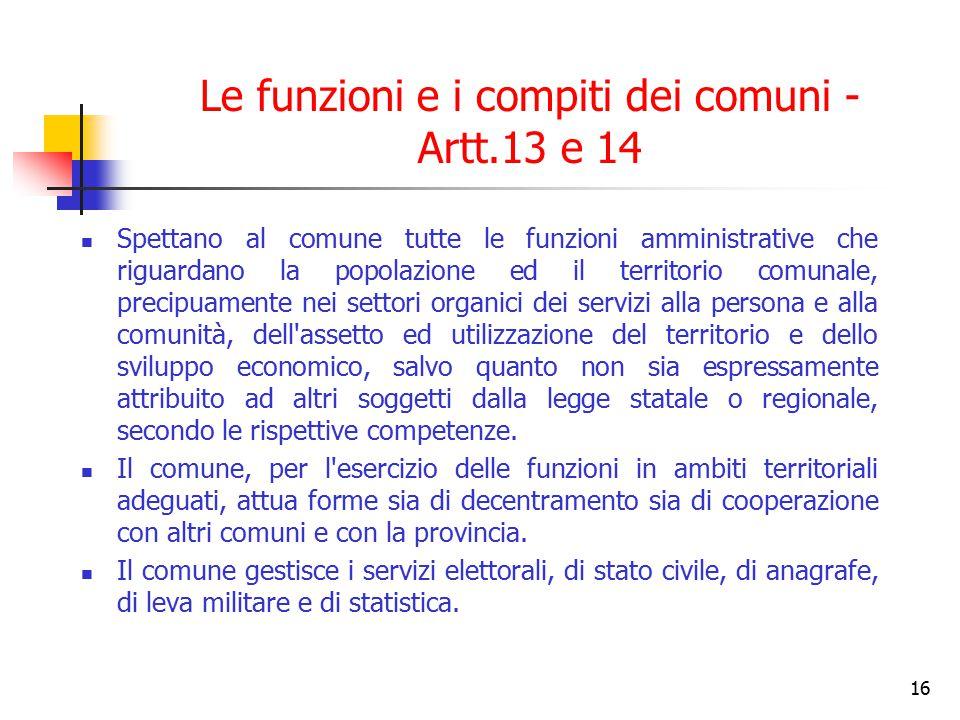 Le funzioni e i compiti dei comuni - Artt.13 e 14