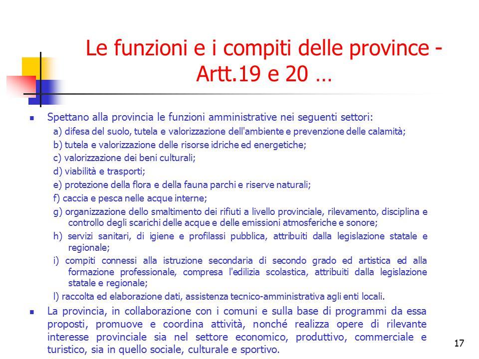 Le funzioni e i compiti delle province - Artt.19 e 20 …